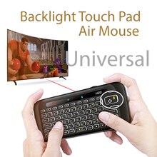 Arkadan aydınlatmalı Mini klavye Touchpad, evrensel şarj edilebilir Windows PC için Android TV kutusu cep telefonu
