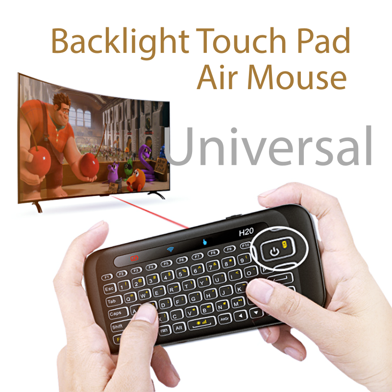 Backlight Mini Keyboard Touchpad, Universal Remote Control Rechargeable for Windows PC Android TV Box Mobile Phone