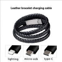 Leder Armband Ladegerät Kabel Typ-C USB Armband Ladegerät Daten Ladekabel Sync Kabel für IPhone 7 8 Android telefon Kabel Geschenk