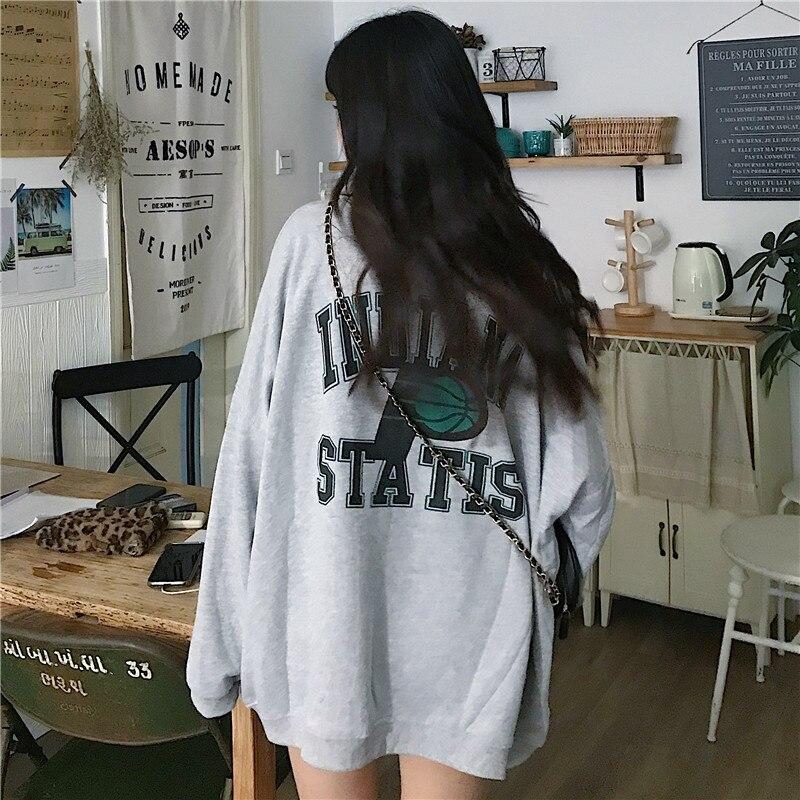 Women's Sweatshirts Japanese Harajuku Ulzzang Ins Loose Letter Long Sleeve Sweatshirt Female Korean Kawaii Clothing For Women