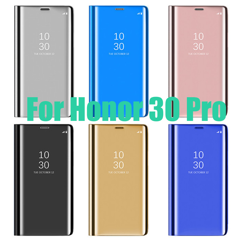 100Pcs Smart Flip Transparent View Mirror With Stand Case Wallet Leather Protection Cover For Huawei Honor 30 Pro V30 9X 9A 9S