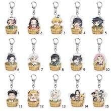 Anime Keychains Demon Slayer Keychain Tanjirou Kamado Nezuko Tomioka Giyuu Kimetsu No Yaiba Acrylic Key Ring Cute Funny Cartoon