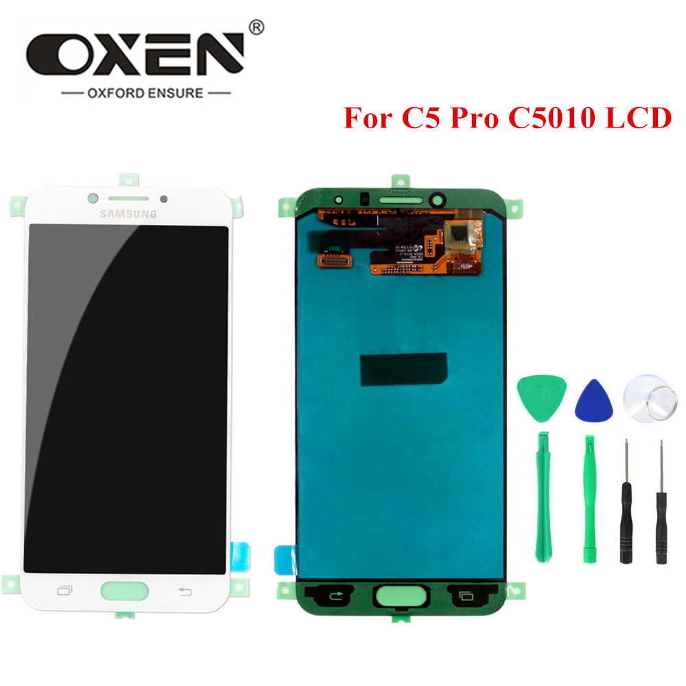 OXEN 100% Tested 5.2'' <font><b>LCD</b></font> Display <font><b>for</b></font> <font><b>SAMSUNG</b></font> <font><b>Galaxy</b></font> <font><b>C5</b></font> <font><b>pro</b></font> C5010 <font><b>LCD</b></font> <font><b>Screen</b></font> Touch Panel Digitizer Assembly Repalcement + Tools image