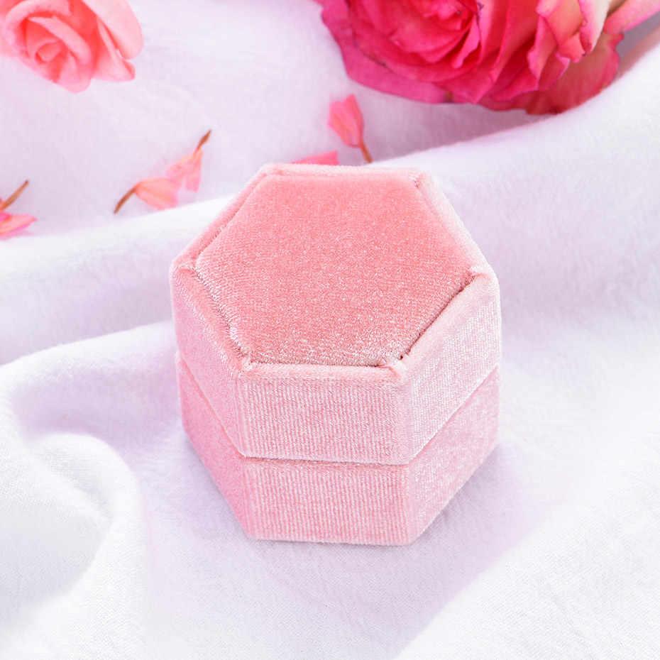 Kuololit 5 قطعة/الوحدة المخملية مسدس الدائري صناديق للنساء اليدوية علب للمجوهرات الزفاف المشاركة الزفاف هدية الوردي الأخضر صندوق