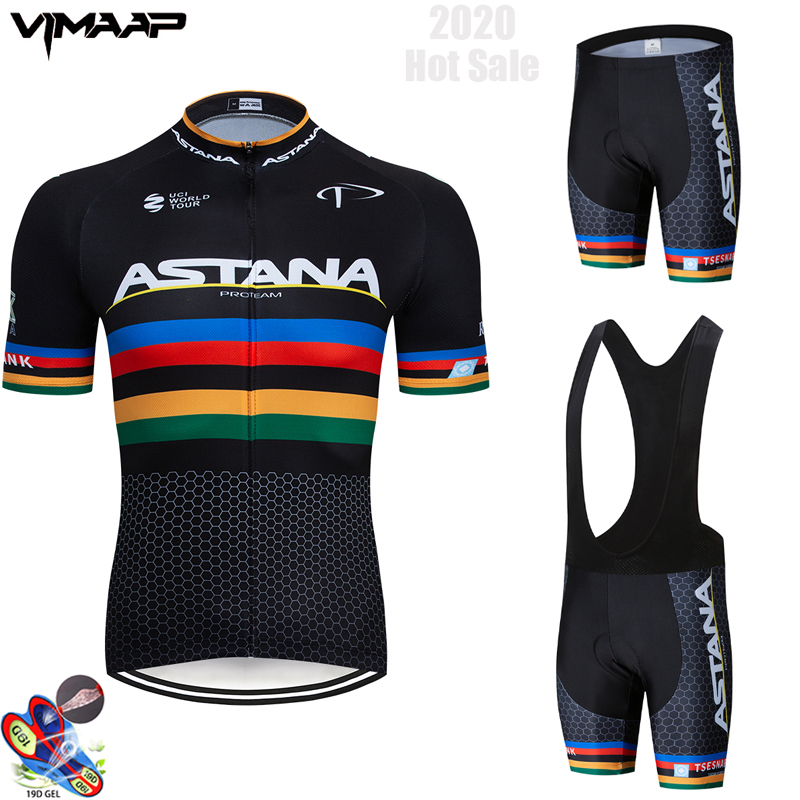 2020 Team ASTANA White Cycling Clothing Bike Jersey Ropa Mens Bicycle Summer Pro Cycling Jerseys 19D Gel Pad Bike Shorts
