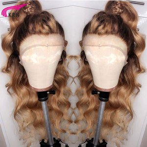 Image 3 - KRN #4/27 Ombre Brazilian 13x6 Lace Frontal Human Hair Wigs WithBabyHair Body Wave remy Pre Plucked Lace Front Wig For Women 180