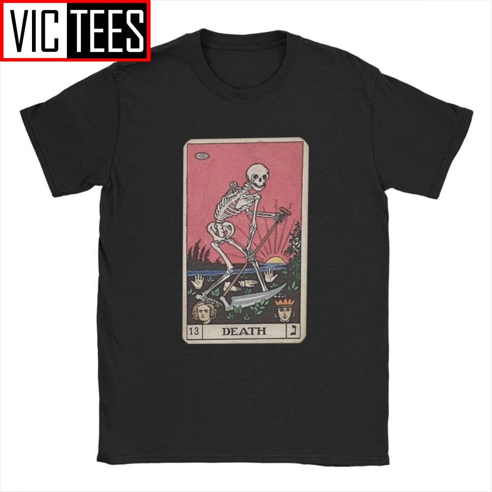 Death Tarot T-Shirt for Men 100 Premium Cotton T Shirts Major Arcana Halloween Spooky Skeleton Creepy Tee Shirt Europe