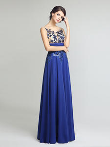 Evening-Dresses Appliques Elegant Formal Sequin Chiffon Long Floor-Length with And Hot-Sale