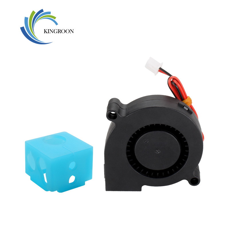 KingRoon Exclusive KP3 Blue Silicon Sock Cover 16*16*12mm And 24V 5015 Fan Air-blower Black For 3D Printer KP3