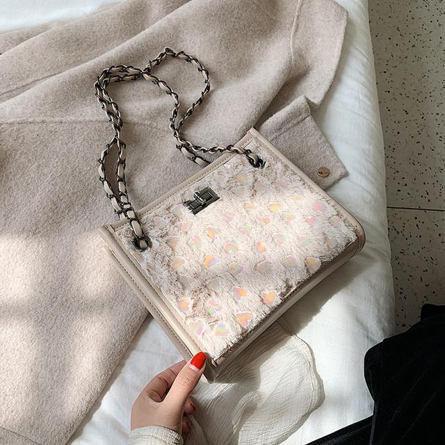 Elegant Female Bucket Bag 2019 Winter Fashion New High Quality Plush Sequin Women's Designer Handbag Lock Chain Shoulder Messenger Bag
