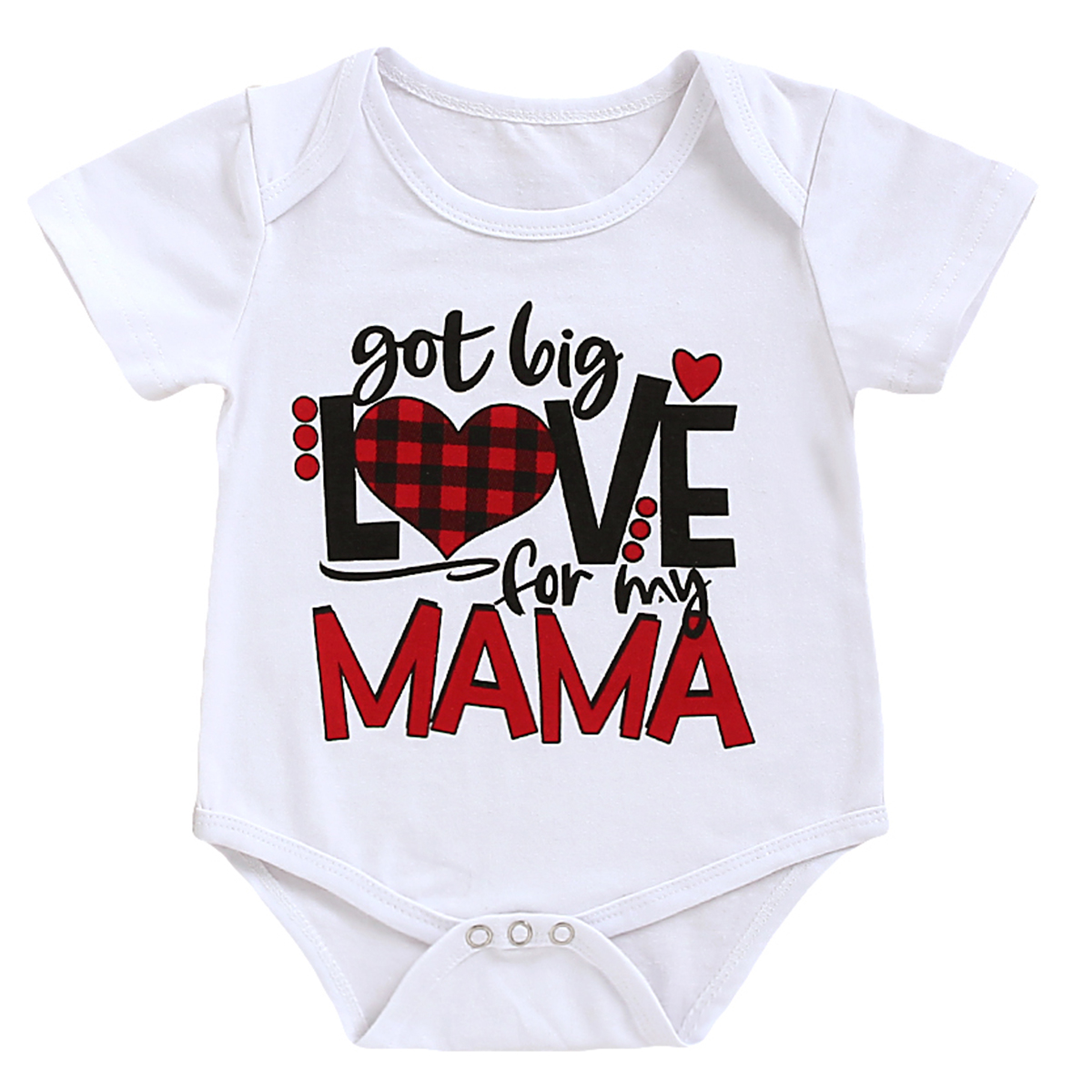 1PCS Newborn Baby Clothes Short Sleeve Girl Boy Clothing got big love for my Mama Design Cotton Rompers de bebe Costumes White image