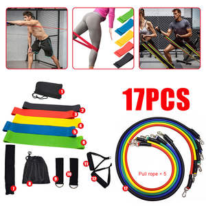 Pull-Rope Resistance-Band-Set Fitness-Equipment Yoga-Band Exercises VIP Training 17pcs