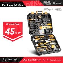 DEKO Hand Tool Set Allgemeine Haushalt Hand Tool Kit mit Kunststoff Toolbox Lagerung Fall Steckschlüssel Schraubendreher Messer