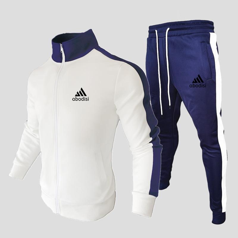 Повседневные спортивные мужские комплекты, Новинка весна-осень, куртка и удобные повседневные брюки, мужская спортивная одежда