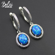 Bolai blue fire opal earrings 925 stelring silver created gemstone ear drop fine jewelry dangle earring for womens gift 2019(China)