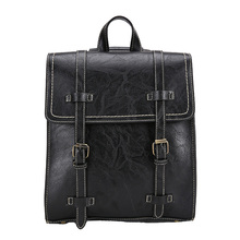 Trend Gothic PU Leather Backpack Women School Bag Casual Fashion England Style Shoulder Bag Punk Backpacks Travel 2020 Fashion