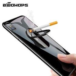 Zapalniczka do telefonu akcesoria do papierosów bezpłomieniowa wiatrówka do palenia akumulator USB elektroniczny brelok Isqueiro przesuwny dotyk w Akcesoria do papierosów od Dom i ogród na
