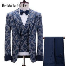Blazer Pants Tuxedo Party-Suits Navy Jacquard Slim-Fit Men's Luxury Gentlemen Bridalaffair