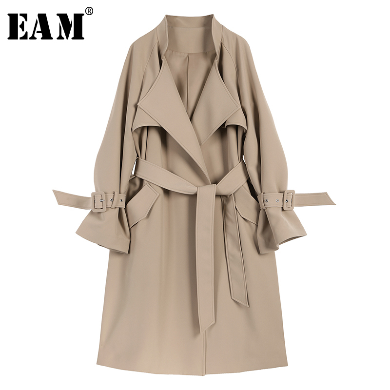 [EAM] Women Belt Pocket Split Trench New Lapel Long Sleeve Loose Fit Windbreaker Fashion Tide All-match Spring Autumn 2020 1A230