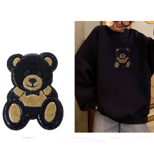 1 Piece S/L Size Cute Bear Sequins Embroidery Stickers Children'S Cloth Patches Holes Patches Cartoon Cloth Embroidery 5