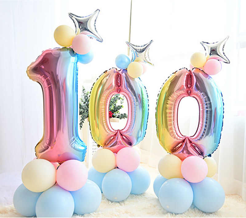 15 Buah/Set Campuran Macaroon Lateks Balon Rainbow Gradient Nomor Foil Balon Ulang Tahun Pesta Unicorn Dekorasi Anak Meningkat Mainan