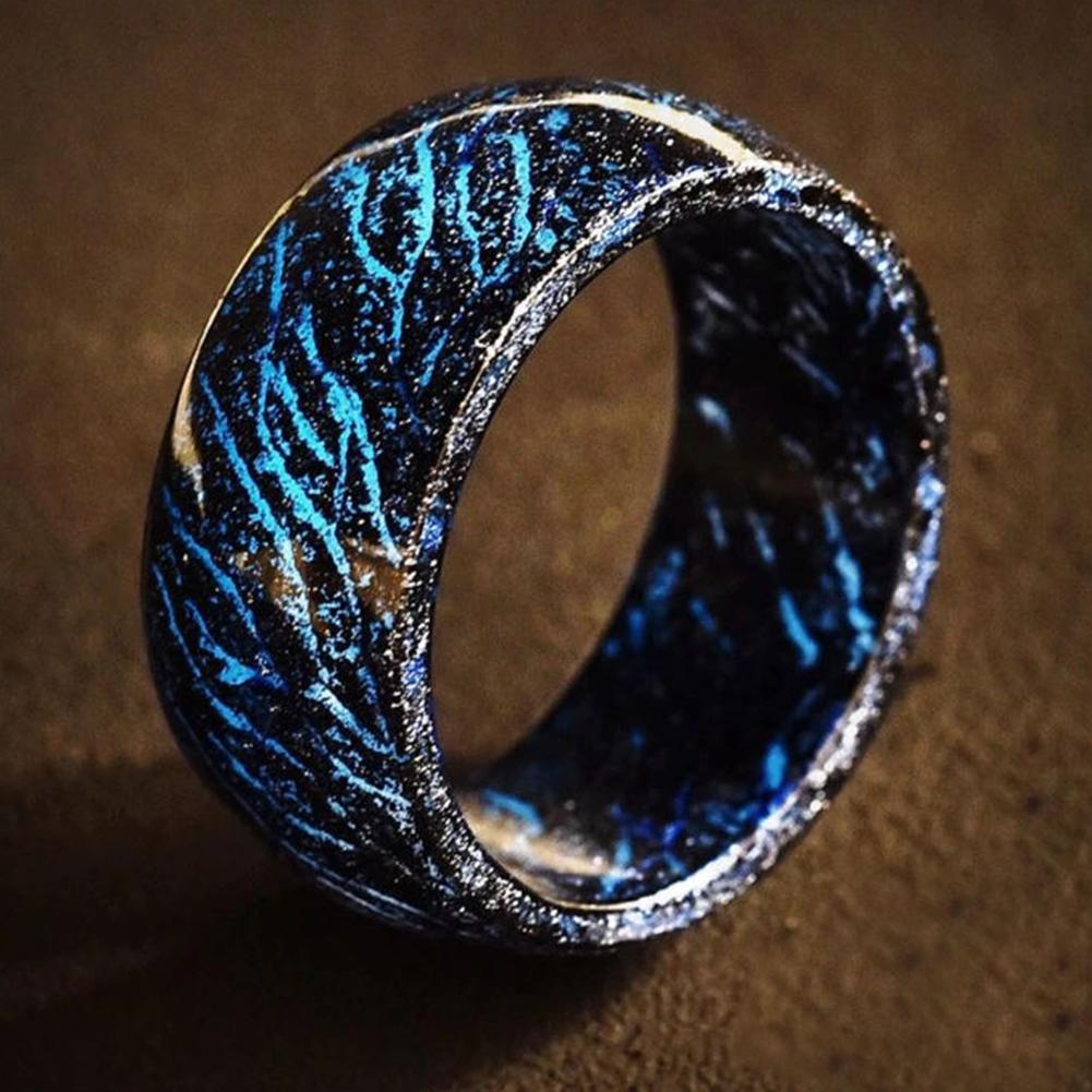 Women Rings Creative Resin Thermochromic Glow Ring Fashion Joker Cool Night Crack Ring Nightclub Bar Ring US Size 6-10