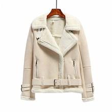 Winter Thick Warm Suede Jacket Women Zipper Motorcycle Suede Leather Coat High Street Female Shearling Overcoat недорого