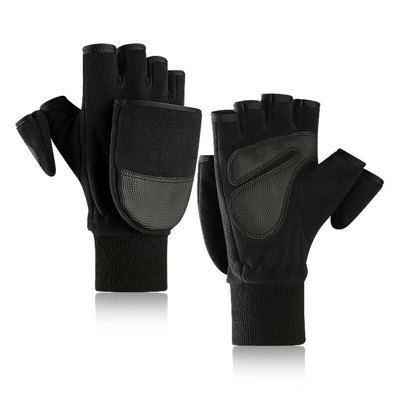 Winter Women Men Polar Fleece Pu Leather Double Layer Thicken Touch Screen Half Finger Flip Gloves Outdoor Activity Warm Wear