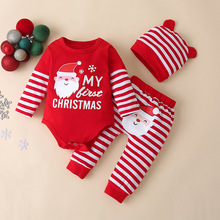 Infant Outfits My First Christmas Letter Bodysuits Striped Leggings Pants Ear Hat Santa Claus Print Christmas Baby Clothes Set