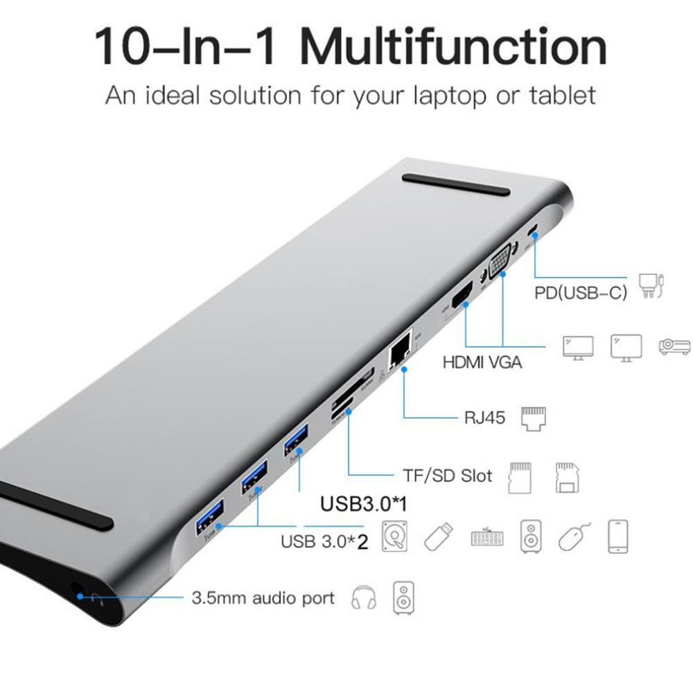 10 In 1 Multi USB C HUB To HDMI VGA USB Audio Adapter For MacBook Type C HUB Docking Station For Laptop