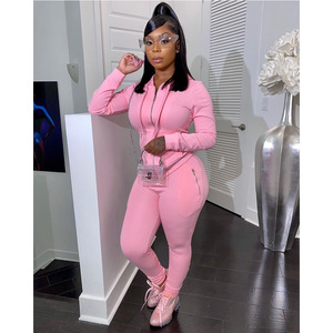 2 Piece Set Women Zipper Hooded Sweatshirt Sport Joggers Workout Set Fashion Tracksuit High Waist Sweatpant Sweatsuit