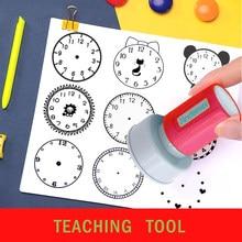 1 peça relógio selo tempo de aprendizagem ferramentas de ensino para a escola primária presente para crianças múltiplo selo estilo opcional