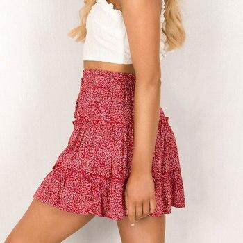 Jocoo Jolee Sexy High Waist Ruffles Skirt for Women Floral Print Beach A Line Skirt Cotton Beach Short Pleated Skirt Plus Size 5