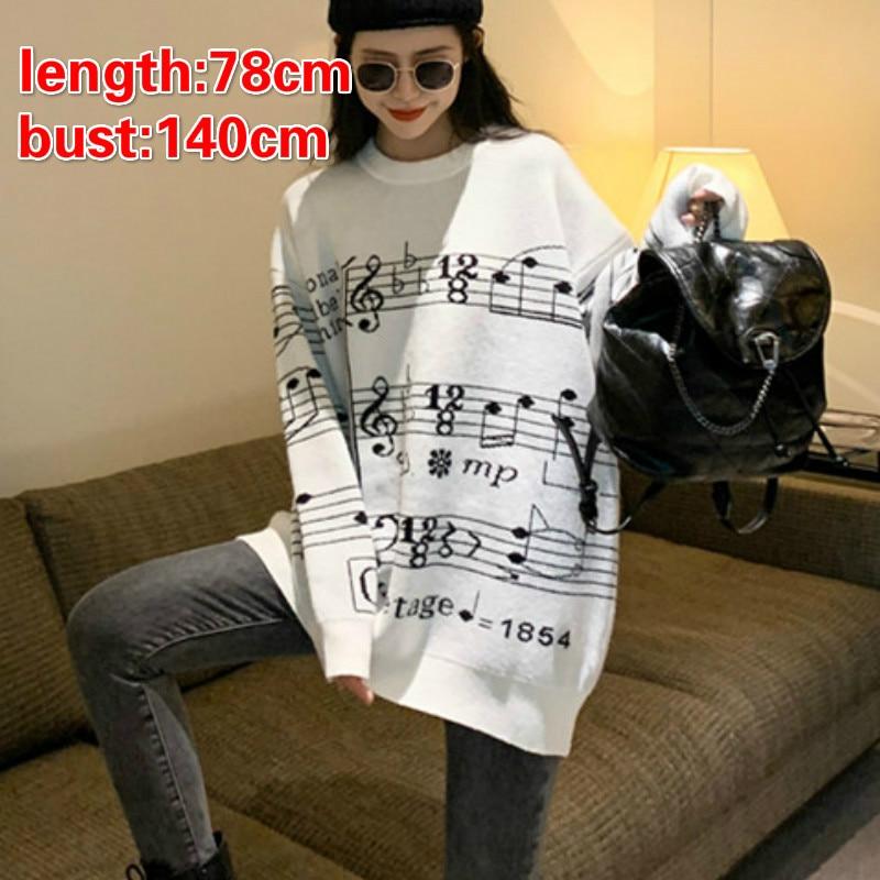Winter Women's Sweater Women Musical Note Christamas Sweater Pullovers Femme Men's Music Note  Sweaters Pull Women's Jacket