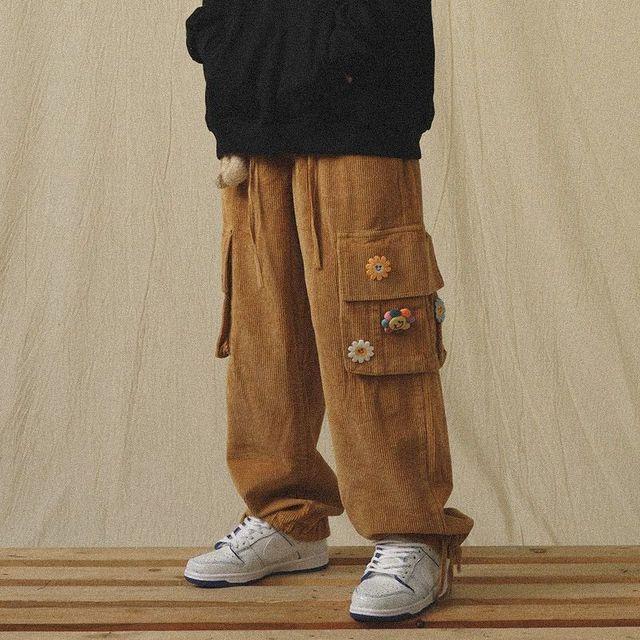 QWEEK Japanese Streetwear Corduroy Pants Women Vintage Brown Cargo Pants Pockets Oversized Korean Style Wide Leg Trousers Female 5