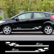 Uds estilo de coche puerta lado rayas etiqueta para Ford Fiesta gráficos vinilo vehículo Envoltura Corporal automática pegatinas accesorios para coche de estilo