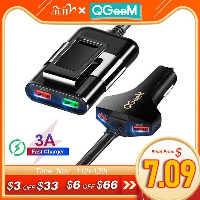 Cargador de coche QGEEM 4 USB para iPhone de carga rápida 3,0, cargador portátil de coche, martillo, parte frontal, trasera, QC3.0, cargador rápido de teléfono para coche