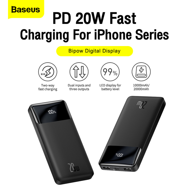 Baseus power bank 20000mah carregador portátil powerbank 10000 bateria externa pd 20w carregamento rápido para iphone 13 xiaomi poverbank 2