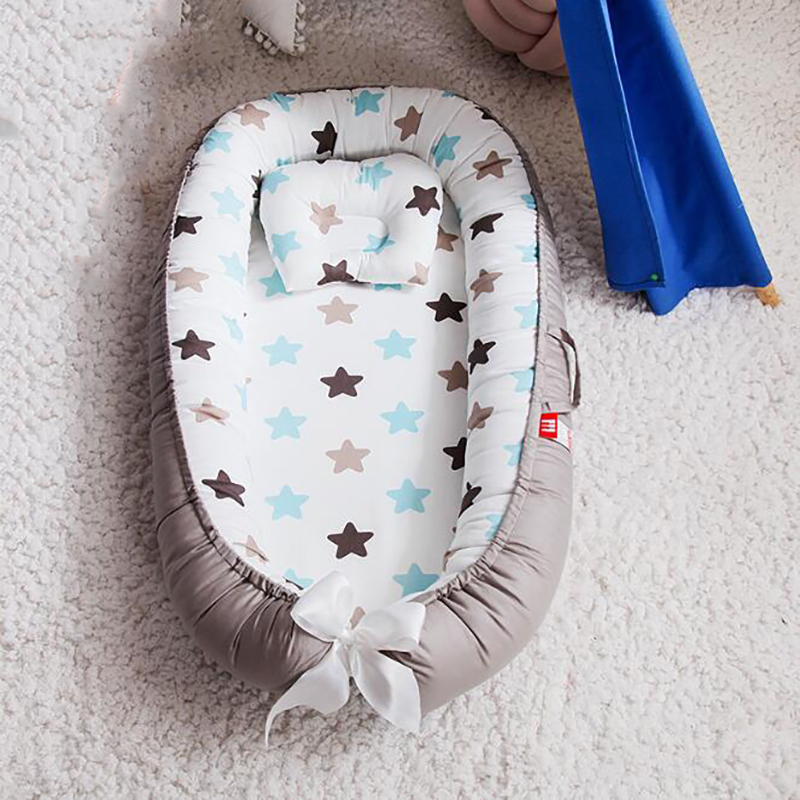 Newborn Portable Crib Infant Cot Crib Baby Basket Cotton Cradle Travel Baby Bed Bedclothes With Pillow YHM006