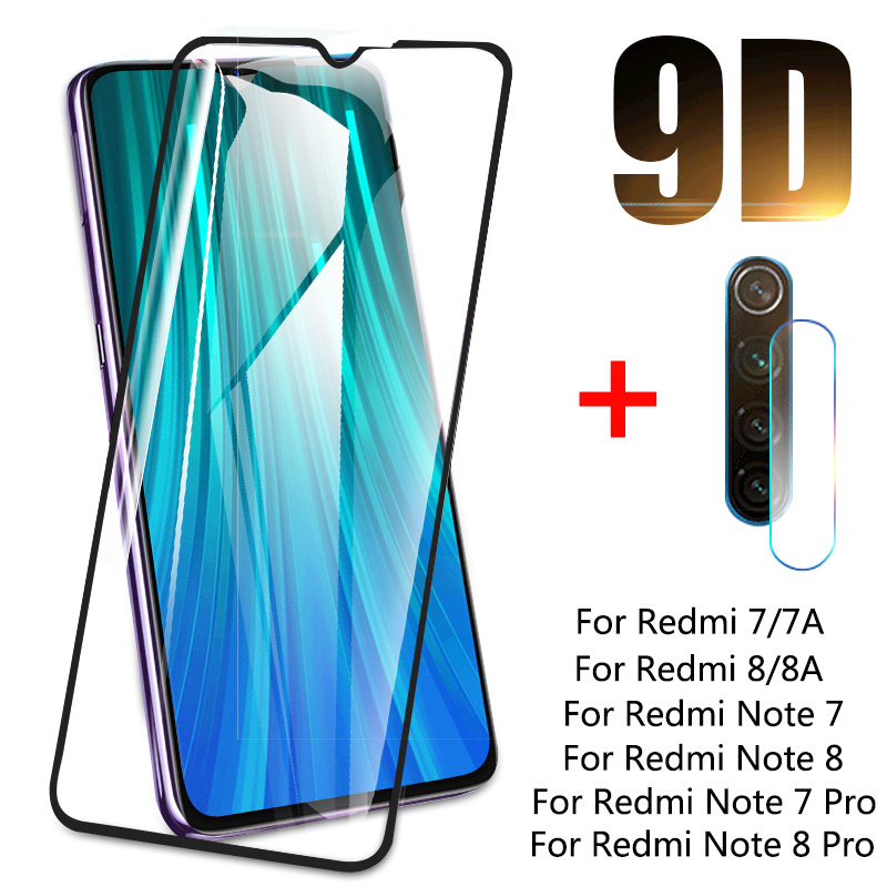 9D Tempered Glass For Xiaomi Redmi Note 8 7 8T Lens Camera Glass Screen Protector For Redmi 7 7A 8 8A For Redmi Note 8T 7 8 Pro