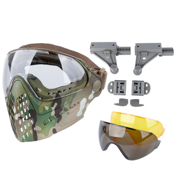 airsoft paintball mask safety protective anti fog goggle full face mask with black yellow clean lens tactical shooting equipment Airsoft Masks Army Fan Shooting Paintball Dual Mode Tactical Equipment With 3 Colors Lens Safety Goggle Full Face Helmet Mask