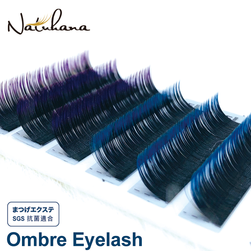 NATUHANA 6Rows Ombre Blue Purple Color Eyelash Extension Individual Faux Mink Eyelashes False Natural Lashes Professional Salon