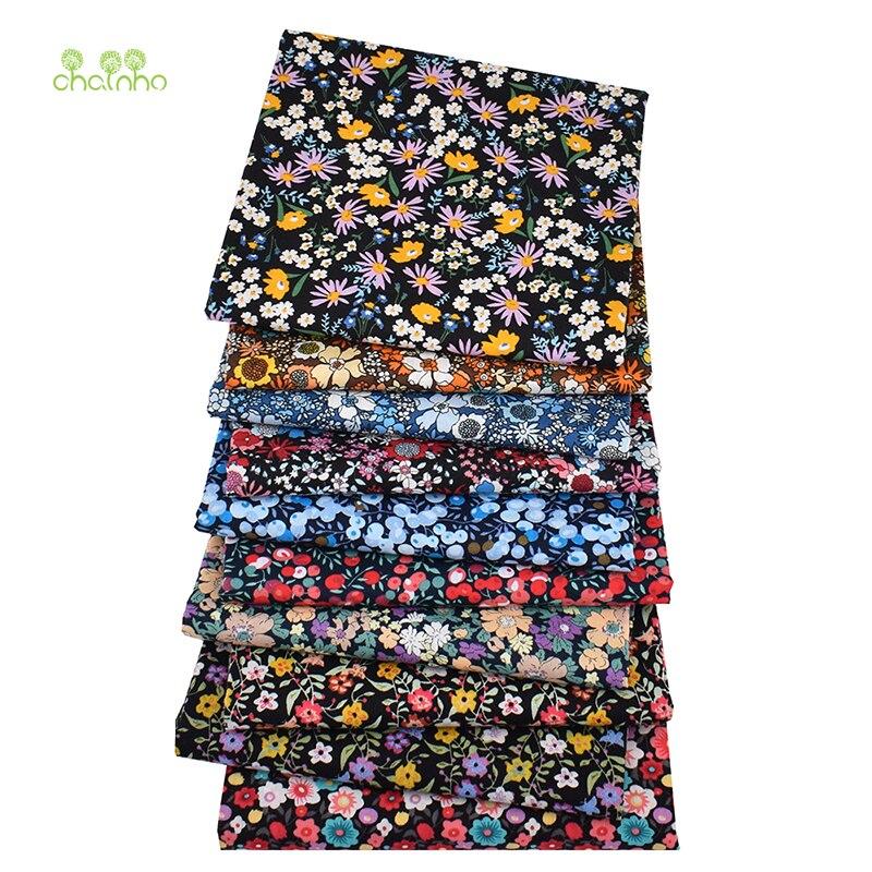 10個/iot、深いパターンポプリン素材ベビー & 子供のため、黒花柄パッチワークの布、無地綿生地、PCC006、48x48cm