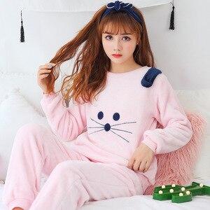 Image 4 - 2020 herbst Winter Frauen Pyjamas Set Schlaf Jacke Hose Nachtwäsche Warme Nachthemd Weibliche Cartoon Bär Tier Hosen Nachtwäsche
