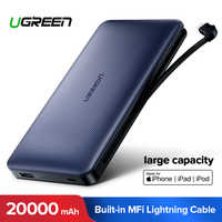 Ugreen power bank 20000 mah para iphone x 7 samsung s9 para usb iphone cabo powerbank carregador portátil banco de bateria externa pover