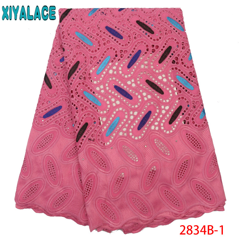 Dry Lace Fabrics High Quality Cotton Lace Fabric Nigerian Lace Fabric Swiss Voile In Switzerland With Stones KS2834B-1