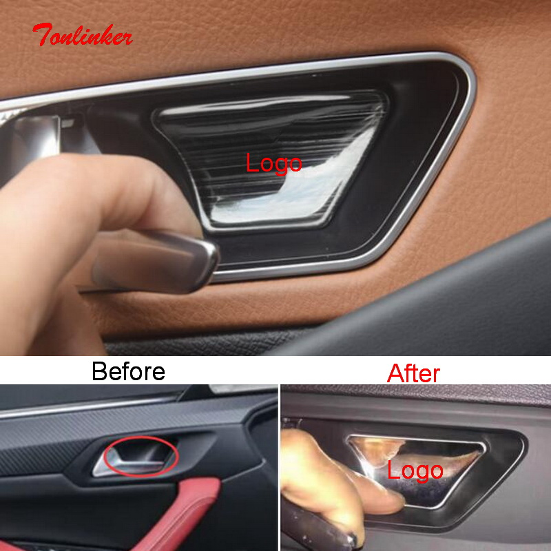 Tonlinker Interior Door Handle Bowl Cover Stickers For Peugeot 3008 508 2017-19 Car Styling 4 PCS Stainless Steel Cover Stickers