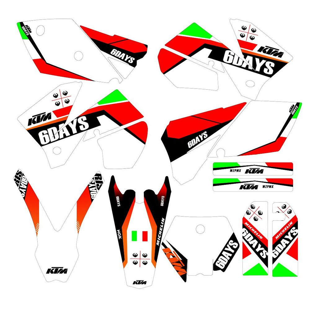 Full Graphics Decals Stickers Custom Number Name 3M Bright Stickers Waterproof For KTM SX 125 250 450 525 2005 2006