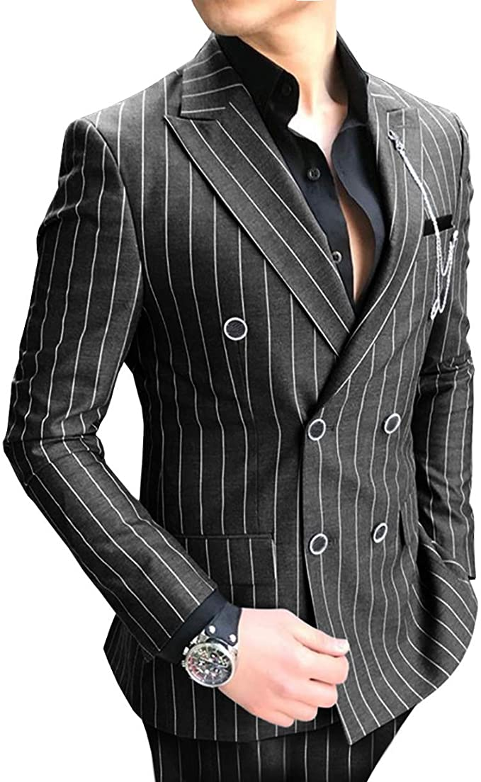 Breasted Suits Striped Prom Wool Tuxedos Piece Grey Fit Business Classic Formal Jacket Wedding Double 2 Mens For Suits Regular