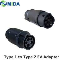 DUOSIDA EVSE адаптер 32Amp SAE J1772 разъем EV зарядное устройство тип 1 к Type 2 EV адаптер для электромобилей зарядка автомобиля J1772 разъем